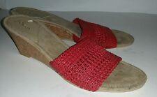 Sbicca red woven slides mules cork wedge heels. 7 vegan