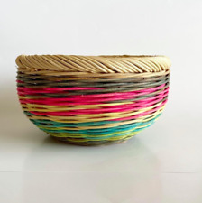 Beautiful Pastel Woven Round Basket