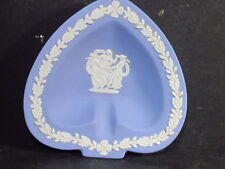 Wedgwood Spade Shaped Pin Tray White On Blue Muses Dancing