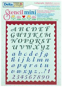 """Delta Stencil Magic Mini Calligraphy Alphabet Design 4 3/4"""" x 6"""""""