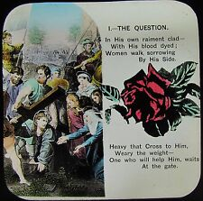 Glass Magic Lantern Slide CHRISTIAN RELIGIOUS TEXT NO4 C1900 WITH FLOWERS