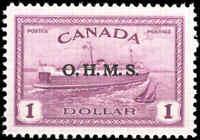 Canada Mint H 1949-50 $1.00 VF Overprinted OHMS Scott #O10 Train Ferry Stamp