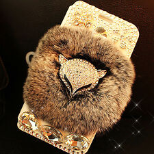 Luxury Shockproof Leather Wallet Flip Diamond Phone Case Fluffy Rabbit Fur Cover