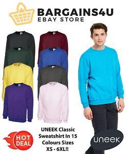 Uneek Classic Unisex Sweatshirt Crew Neck Men's Plain Jersey Sweater Jumper TOP