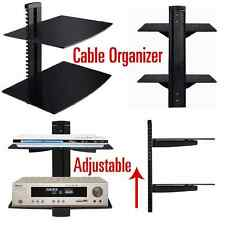 2 Shelf Black Wall Mount Entertainment Center Glass Dvd Cable Box Gaming TV New