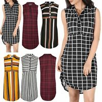 Womens Ladies Multicoloured Stripes Collared Front Button Sleeveless Shirt Dress