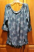 Terra & Sky Bell Sleeve Floral Print Pullover Peasant Tunic Top Plus Size 2X
