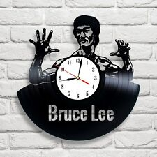 Bruce Lee design vinyl record clock home wall art shop pub office playroom move1