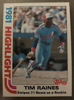 "1982 Topps Tim Raines ""1981 Highlight"" Baseball Card #3 Expos High Grade"