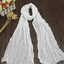 Women Long Shawl Wrap Soft Voile Stole Summer Big Crinkle Scarf New