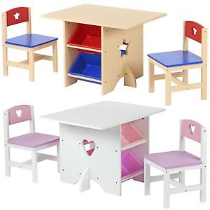 Children's Nursery Wooden Play Table and 2 Chairs Set With 4 Storage Boxes