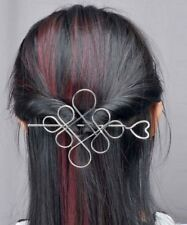 Large Silver Hair Pin Chinese Knot & Heart Design Stick Clip Grip Slide UK Shop