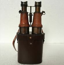 Antique Nautical Binocular With Brown Leather Case Vintage Gifting Item