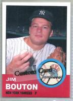 JIM BOUTON NEW YORK YANKEES 1963 STYLE CUSTOM MADE BASEBALL CARD BLANK BACK