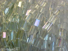 Vtg 500 CRYSTAL AB COLOR PILLOW SPACER GLASS BEADS 3.5X5 mm FABULOUS! #051512w