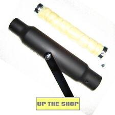 """Universal Matt Black Bomber Shorty 12"""" 30cm silencer, Cafe Racer Classic Custom"""