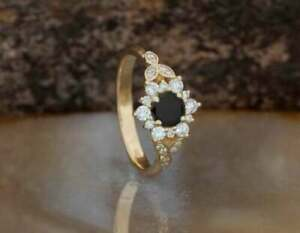 1.50Ct Round Cut Black Diamond Vintage Halo Engagement Ring 14K Yellow Gold Over