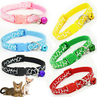Pet Dog Puppy Cat Kitten Soft Adjustable Collar Strap Safe Buckle with Bell 1× A