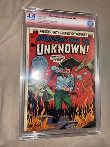 ADVENTURES INTO THE UNKNOWN #43 CBCS Signed by KEN BALD 1953- Golden Age Horror