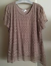 Shannon Ford New York Shirt Stunning Mocha Lace Top Plus Size 1X NWOT