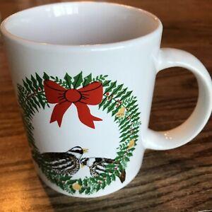 """Christmas Wreath Cup Mug Westwood by Chiara 1990 3 5/8"""" X 3"""" ceramic Cat Rescue"""