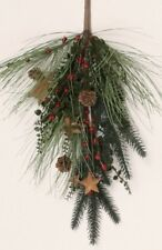 SINGLE BRANCH PINE SPRAY DECORATION with PINECONES, RUSTY STARS AND RED BERRIES