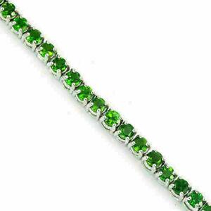 Bracelet Green Chrome Diopside Genuine Natural Gems Sterling Silver 7 1/4 Inch