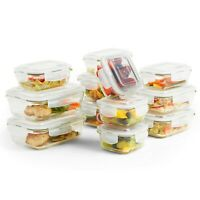 VonShef 12pc Glass Food Storage Containers & 12 Airtight Tupperware Clip Lids