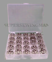 BOBBIN BOX + 25 SINGER FEATHERWEIGHT SEWING MACHINE BOBBINS 221 222 301 #45785