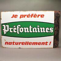 Ancienne et authentique plaque émaillée double face vins Préfontaines