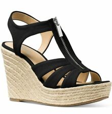 Michael Kors Women's Sandal Berkley Black Wedge Canvas Zipper Heel Sz 10 NEW