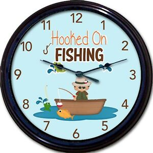 Hooked on Fishing Wall Clock Fathers Day Fish Trout Fisherman New 10""