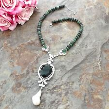 White Keshi Pearl CZ Pendant Faceted Ruby Zoisite Necklace