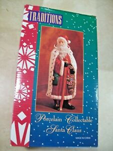 "TRADITIONS PORCELAIN COLLECTIBLES SANTA CLAUS 8"" TALL RICHLY HAND PAINTED FIGURE"