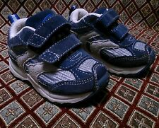 Athletic Works Navy Blue Grey Toddler Boys Suede Shoes 4C (Patrick) Tennis EUC