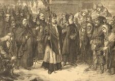 Catholic Priest, Procesion Of The Holy Thorn, Vintage 1872 Antique Art Print