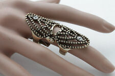 Women Antique Gold Metal Ring Fashion Jewelry Long Finger One Size Elastic Band