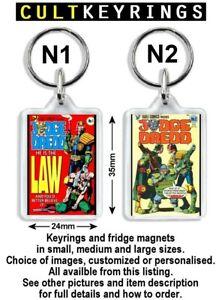 Judge Dredd keyring / fridge magnet - Eagle Comics covers Brian Bolland 2000 AD
