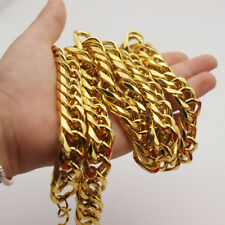 """Mens hip hop jewelry 18k Yellow Gold Filled Cuban Curb Chain 24"""" long Necklace"""