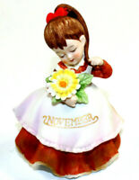 Vintage Geo. Z. Lefton November Month Flower Girl Painted KW 4200 Japan MINT