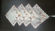 4 LINEN PLACEMAT EMBROIDED HOME EVENTS CHRISTMAS DINNING TABLESET COFFE TABLEMAT