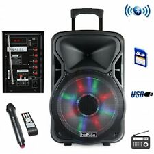 "beFREE 12"" Bluetooth Party DJ Karaoke Portable Rechargeable Speaker Wireless Mic"