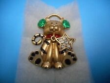 Up For Christmas Pin / Brooch Wow beautiful Vintage Christmas Cat All Dressed