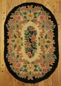 Vintage Floral Hooked Oval Throw Rug Shabby Chic