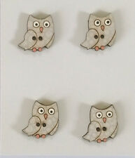 VIZZY Wooden Buttons Quilt Embellishment ~ Small Owls