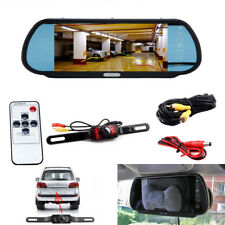 "7"" TFT Car Rear View Monitor Mirror Wired Parking Night Vision Backup Camera Kit"