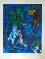 "Rare Signed Marc Chagall ""The Struggle Of Jacob"" Lithograph 27'X20' inch Amazing"