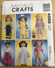"""McCall's Crafts Sewing Pattern 4066 18"""" Doll Clothes Raincoat Poodle Skirt Uncut"""