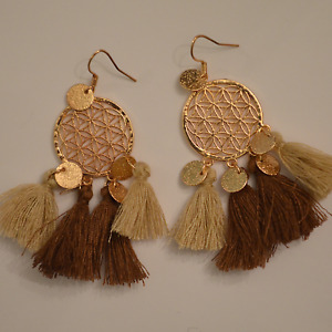 Topshop gold colour dangle earrings drop tassel pattern floral hippy Freedom