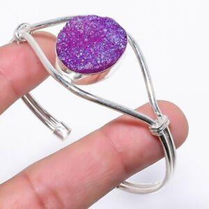 Purple Titanium Druzy Gemstone Handmade 925 Silver Cuff Bracelet Adjustable